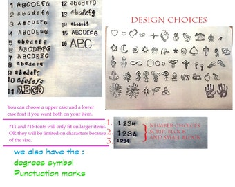 16 Font choices and Designs - This is for reference on what we have for choices