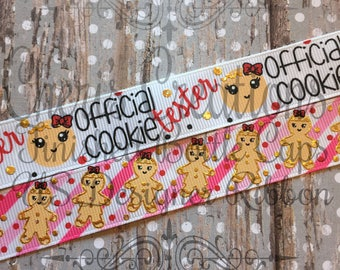 "7/8"" Official Cookie Tester - Mama's Little Helper - Baking Buddy - U.S. DESIGNER - High Quality Grosgrain Ribbon - By The Yard"