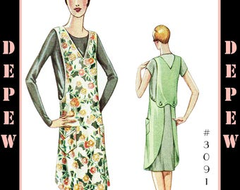 Vintage Sewing Pattern 1920s Ladies' Apron #3091 Sizes Small, Medium, Large - INSTANT DOWNLOAD