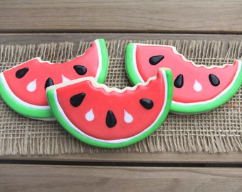 Watermelon Cookies / Summer Party / Watermelon Slice Cookies / Fruit Party / Watermelon Favor / Watermelon Decor / Watermelon Slice Favor