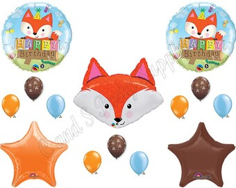 FOX Happy Birthday Balloons Decoration Supplies Forrest Animals Woodland Friends