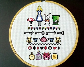 Alice in Wonderland - Cross Stitch Sampler Pattern