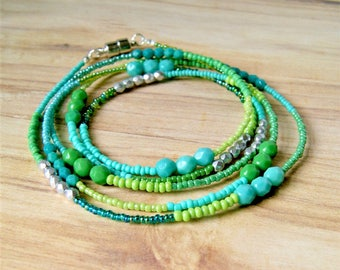 long beaded necklace, boho jewelry, green necklace, mermaid jewelry, gift for her, hippie jewelry