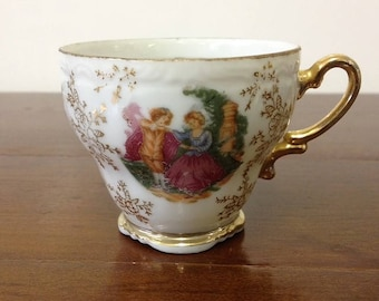Japanese Eggshell Porcelain Orphan Gilt and Transferware Tea Cup Vintage 1950's Marked to Base Gold Floral Pattern Square Base
