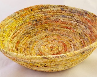Coiled Fabric Basket Large Catchall Fabric Wrap Clothesline Bowl Tan 8""