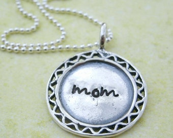 Mom necklace,  for Mom, Sterling silver mommy necklace, Personalized Necklace