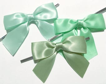 12 LIGHT GREEN - Mint, Seafoam, or Spring - Pre-made Bow Embellishments