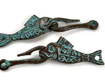 Mykonos Fish and Hook Clasp - Green Patina