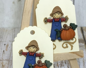 Seasonal Pins, Handmade Pins, Scarecrow and Pumpkin Pin