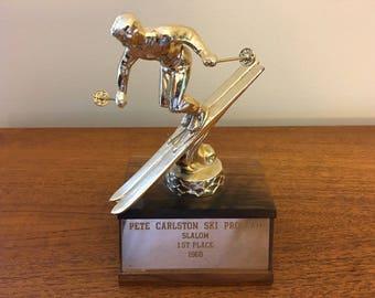 Vintage 1968 Skiing Trophy - 1st Place Slalom