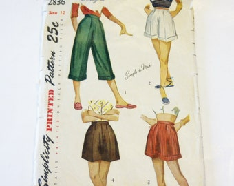 Simplicity 2836: Teen-age Pedal Pushers and Shorts Size 12 CUT ORIGINAL