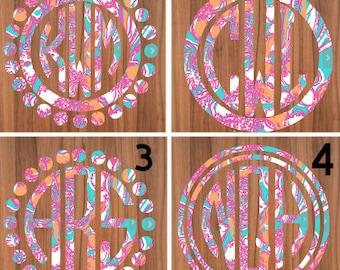 Lily Pulitzer Inspired Patterned Monogram Decal, Monogram Car Decal, Yeti Sticker, Yeti Decal, Laptop Decal, Monogram Sticker