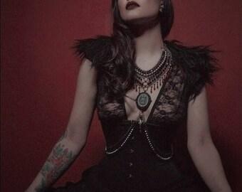 Body Jewelry: Lady Bathory - Red & Black Gothic Twin Skeleton Body Piece