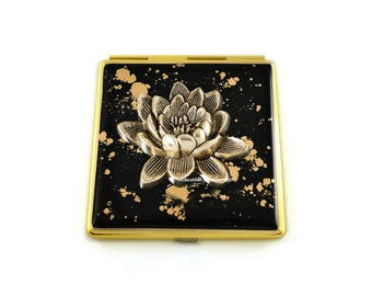 Lotus Flower Square Compact Mirror Inlaid in Hand Painted Enamel with Gold Splash Design Zen Inspired with Color and  Personalized Options