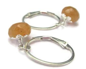 Oval Hoop Earrings with Gemstone Drops Sterling Silver Leverback, Interchangeable Earring Charms Lever Back Orange Purple Green