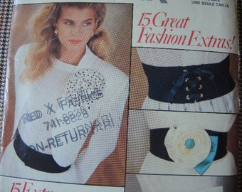 vintage 1980s Butterick sewing pattern 6490 misses belt collection and flowers one size