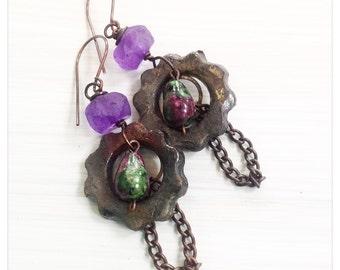 Rustic cog earrings - purple recycled glass earrings