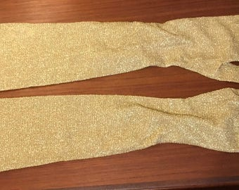 Vintage Cornelia James 60's gold lurex gloves  mousquetaire elbow length burlesque