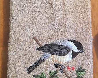 Embroidered ~BLACK Capped CHICKADEE~ Kitchen Bath Hand Towel