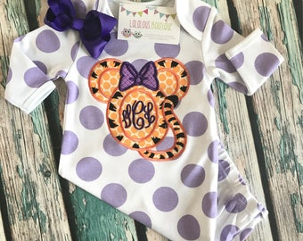 LSU Minnie zip up baby gown