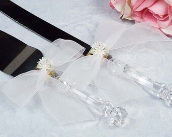 Daisy Bouquet Wedding Cake Server Set - Custom Engraving Available - 55725D
