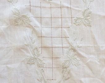 Antique Embroidered Linen Dresser Scarf/Table Runner