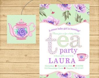 Tea Party Baby Shower Invitation, Tea Bag Invitation, Tea Party Invitation, Baby is Brewing Baby Shower Invite, Printable