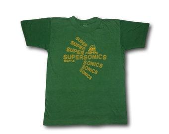 Vintage 70's SEATTLE SUPERSONICS Green Sonics World Champions NBA Basketball 50/50 Tee T-Shirt Sz S/M
