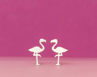 Flamingo Earrings Cute Bird Stud Earrings sterling Silver Bird Jewelry Bridesmaid gift girl gift for mom kid summer earrings exotic bird