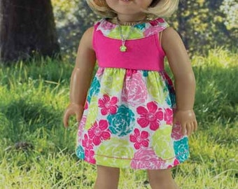 SUNDRESS in Pink Floral Print with NECKLACE Headband and SANDALS Option for American Girl or 18 inch Doll