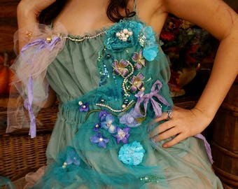 Romantic fairy tulle top Tatered couture beaded top Mori girl Boho top Altered couture top Shabby chic tunic Bohemian top Flower tunic