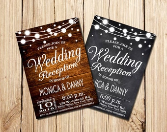Rustic Wedding Reception Invitation, Wedding Reception Invitation, Chalkboard Wedding Reception  Invitation, Wooden