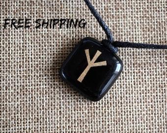 Algiz. Runa protection. Elhaz Rune. Viking talisman. Runic pendant. Viking pendant. Rune symbol. Runic amulet. Asatru necklace