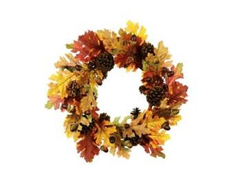 Autumn Oak Leaf, Acorn and Pine Cone Wreath 60cm