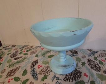 Vintage Wooden Pedestal Fruit Bowl Compote Chalk Painted & Distressed