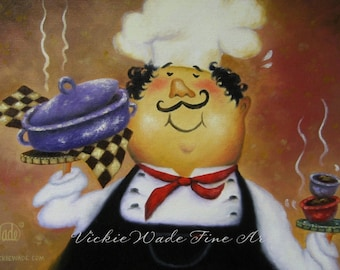 Chef Painting ORIGINAL Oil 9X12, fat chefs, kitchen art, red, black, checks, happy chef, waiter, whimsical chefs, Vickie Wade Art