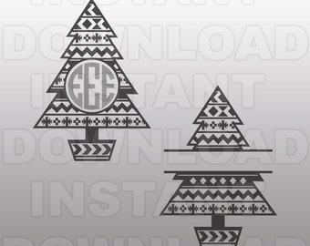 Aztec Pattern Christmas Tree Monogram SVG File -Commercial & Personal Use- Vector Art SVG for Cricut,Silhouette Cameo,iron on vinyl design