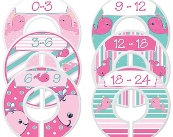 Custom Baby Closet Dividers Nautical Nursery Pink Whales Nursery Clothes Organizers Baby Shower Gift Baby Girl by Mumsy Goose