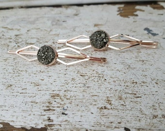 Rose Gold Hair Pin Raw Pyrite Rose Gold Hair Accessories Stocking Stuffers for Women Mineral Gypsy Art Deco Hair Pin Set Bobbie Pins
