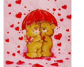 Set of 3 paper napkins OUR028 bears under an umbrella, rain of hearts