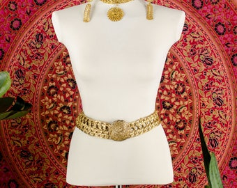 60's RARE Woven Gold Choker with Matching Earrings and Belt Jewelry Set Iconic Statement Jewelry Designer Runway Jewelry