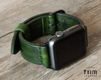 Apple Watch Band 42mm 38mm Leather Watch Bands Minimal in Forest Green Color Series 1 2 3 [Handmade] [Custom Colors]
