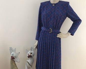 Vintage Retro Floral Print Secretary Dress S/M