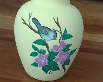Pintado a mano florero chickadee