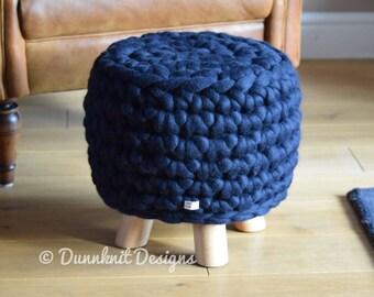 The Bunbury Bumper Footstool - Merino Wool Pouffe - Crocheted Footstool - Small Round Footstool