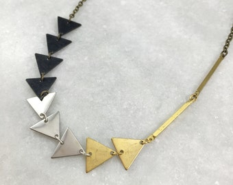 Mixed Metal Triangle Necklace   N21620