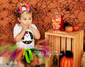 Ghost Circle Patch Halloween Tutu Outfit-Ghost Costume-Halloween Birthday Outfit-Halloween Pageant Outfit *Bow NOT Included*