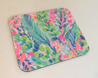 Mouse Pad  made with Lilly Pulitzer Signature Fabric MULTI CATCH the WAVE.