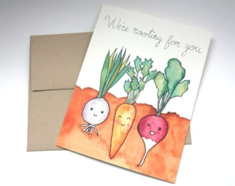 We're Rooting for You - Group Get Well Soon Card / Group Encouragement Card - Watercolored Cute Recovery Card - Colleague Get Well Card