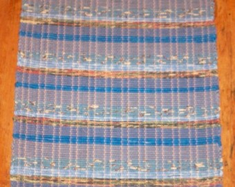 100% Cotton Rag Rug - Handwoven - Blue Multi Stripes (Inv. ID# 01-1061)